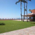 ホテル前の綺麗な芝生