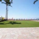 ホテルからでた目の前は綺麗な芝生とワイキキビーチです