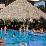 This palapa is the open bar located right in the large pool.