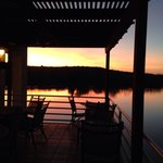 The lower terrace, a perfect outdoor spot for a sunset with dinner.