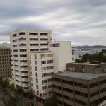View from our room on 9th floor Cruise ship leaving Hobart