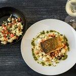 Pan fried salmon, fennel, cauliflower, almonds, currants with sorrel pesto