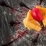 Macadamia white choc caramelie with raspberry sorbet