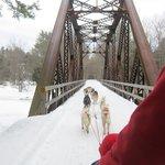 The trail runs over some old railroad bridges