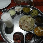 A tasting plate, complete with lassi