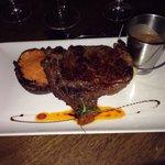 Ribeye steak, roasted vegetable stack and mash