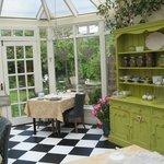 The veranda for breakfast overlooks the garden