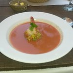Chilled tomato soup with prawns. Awesome!
