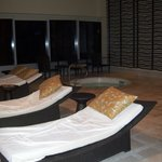 lounge beds around pool...