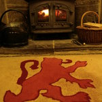 Roaring log fire