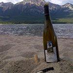 Enjoying our wine in Jasper Alberta