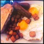 Breakfast - sausage, eggs, toast and potatoes