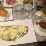 Scrambled Egg Whites with Guyere cheese Truffle Oil and Scallions Tartine