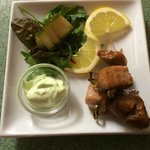 Teriyaki salmon skewers with wasabi mayo. New addition to our starters