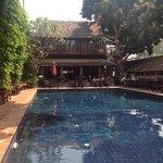 pool and restaurant at Tamarind Vilaage Hotel, Chiang Mai.