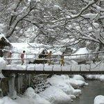 Мостик через Такарагаву зимой
