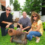 My wife and I posing by old cannon in the garden with Chef Francois