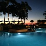 Pool with sunset at the Hilton