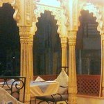 Nightime dining pavillion on rooftop