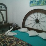 Our room! The maid left us a swan