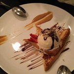 Peruvian french toast with ice cream and caramel sauce.