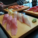 toro, yellowtail, tuna, and salmon