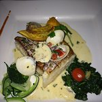 Seabass with clam sauce