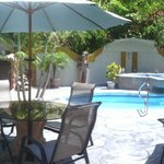 This is a panoramic view of our pool area