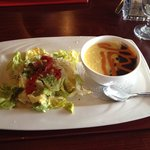 Signature soup and Caesar salad