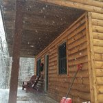 Front of our cabin in the snow!