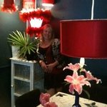 The red room featuring gorgeous upside down lampshades