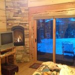 Master BR - gas fireplace, king bed, tv, and back porch with a great view
