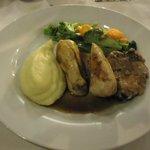 Chicken and mash potato.