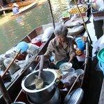 Lady making noodles