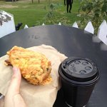 Savoury scone and chai latte - awesome!