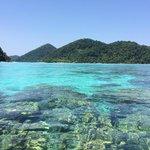 น้ำใสๆ ฟ้าสวยๆ สามารถมองเห็นปะการังจากพื้นผิวน้ำ