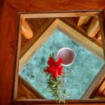 Glass in floor of overwater bungalow