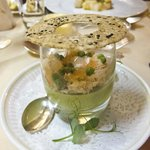 Great Orme crab with pea panacotta