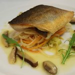 Sea Bass with Julienne vegetables,  miso and shitake