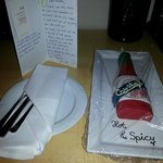 Hot sauce cake.and card from the staff at Sheraton