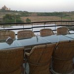 Roof top restaurant at Leela Villas Jodhpur and Umaid Bhawan View