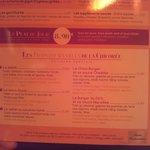 menu des spécialités