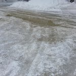 More iced road and broken with water. They dont bother fixing the broken water pipes around site
