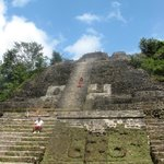 What goes up must come down--climbing the High Temple at Lamanai Ruins
