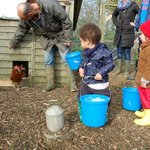 Collecting eggs!