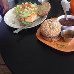 Salmon Burger (left) Adobo Burger (right)