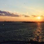Liberty at sunset