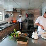 Pelagian's expansive galley, where executive chefs prepare culinary delights..