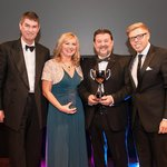 Receiving the award for Heron & Brearley Pub of the Year 2013 from guest compere Rob Beckett.