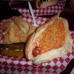 Columbian hot dog - pineapple, mozzarella cheese, crushed potato chips and Simon's spread